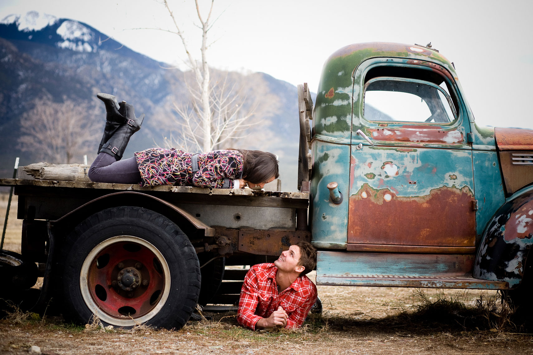 Taos Engagement photo on old truck