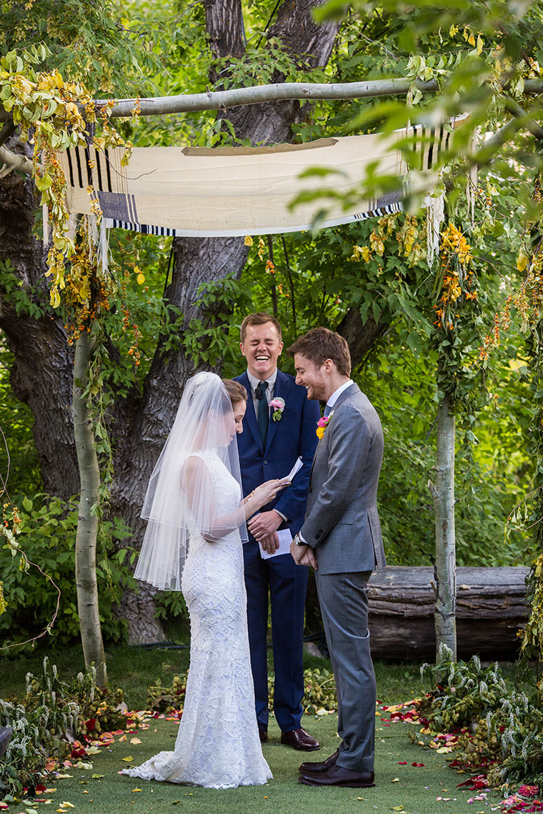 Santa Fe wedding ceremony under Chuppah in parents backyard on Canyon Road