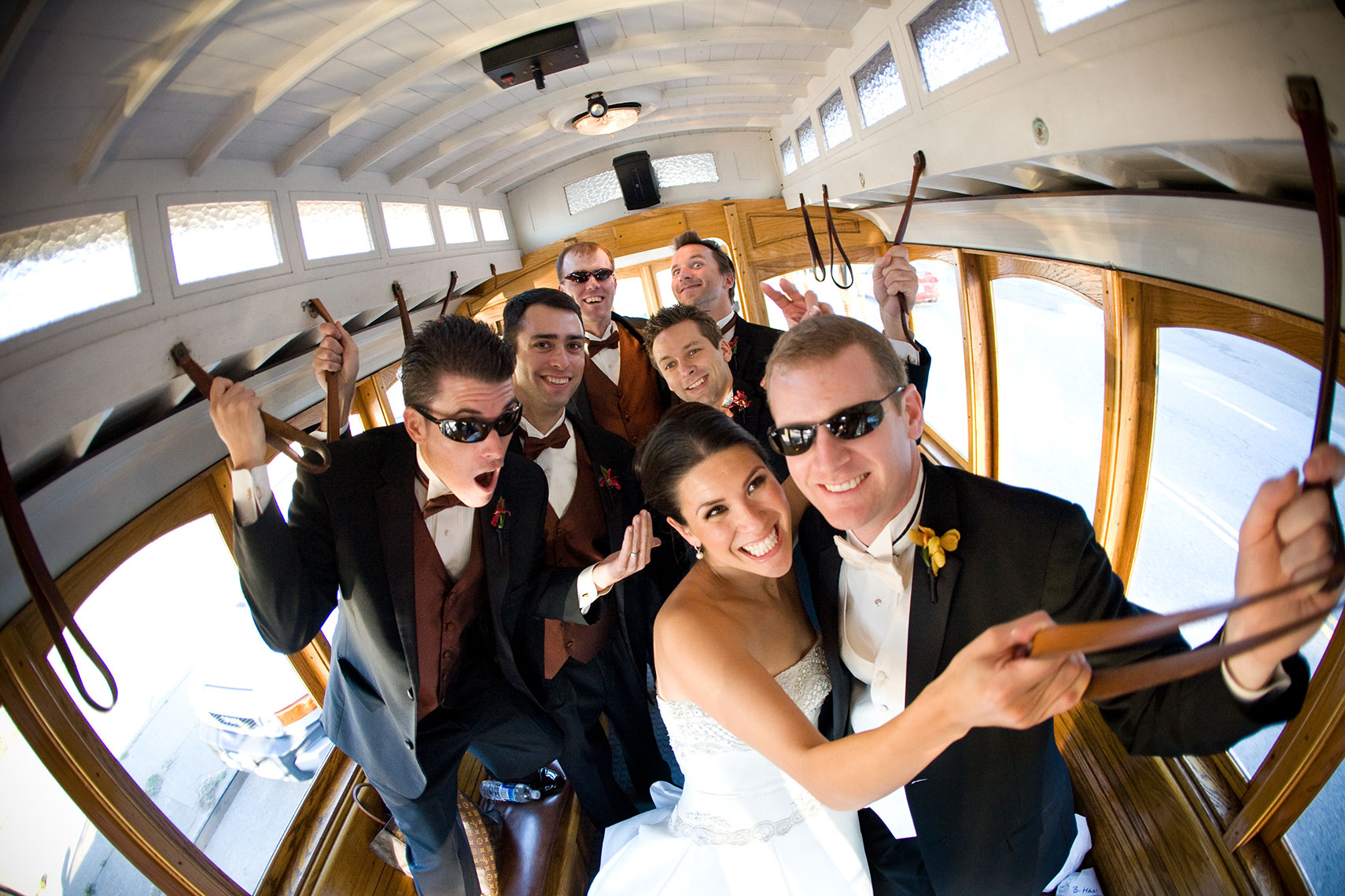 San Francisco Trolly wedding party