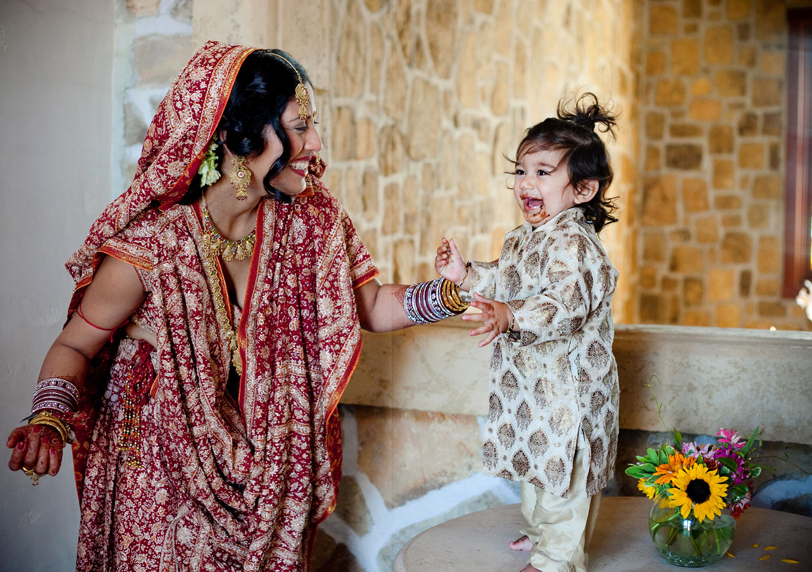 East Indian Bride with son