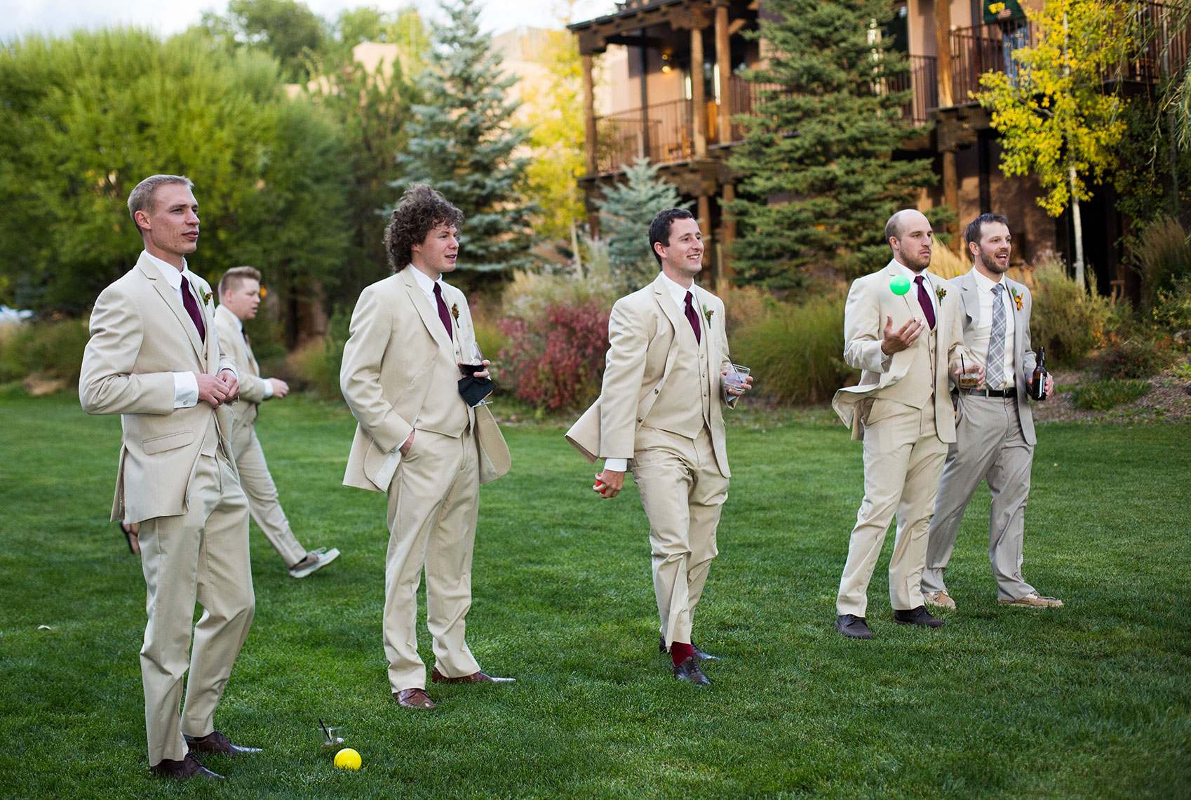 Groomsmen on the lawn at the El Monte Sagrado in Taos
