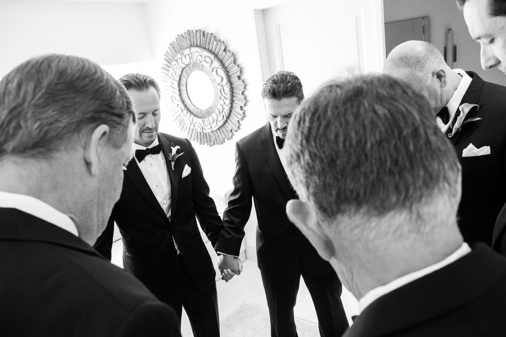Groomsmen Praying at the Eldorado Hotel in Santa Fe