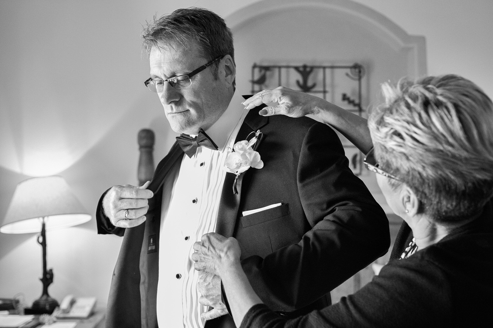 Gay wedding at Bishops Lodge, a groom getting ready